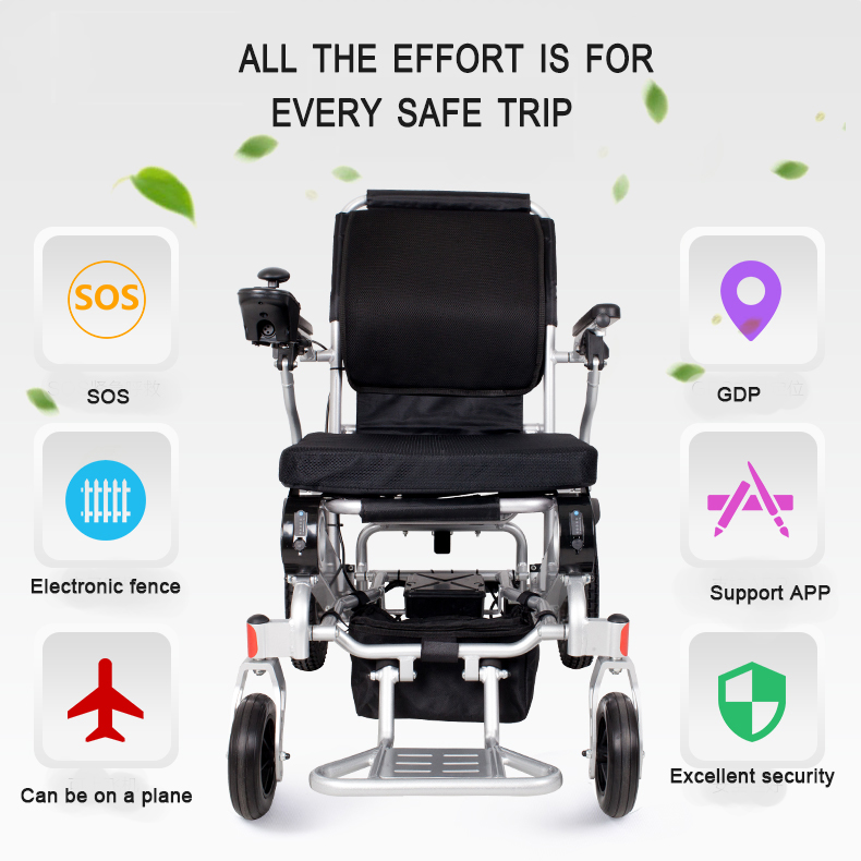 2018 New Product CE FDA Lightweight Portable Travel Aluminum Folding Lithium Battery Power Electric Wheelchair
