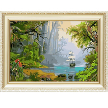 Very popular menglei diy digital painting by numbers kits with landscape