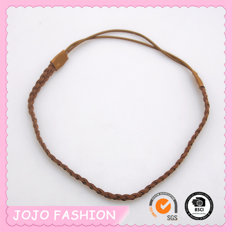 Wholesale Fashion Brown Colorful Synthetic Hair Plaited Elastic Headband Hair Accessory For Girls
