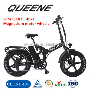 QUEENE/Electric Bicycles Folding 20inch Fat Tire Electric Bike 500W 48V Mountain Snow Beach