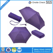 Purple Hand Open Folding Rain small pocket Umbrella & box
