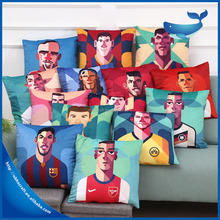 Famous football star printing design soft hug pillow cover for kids