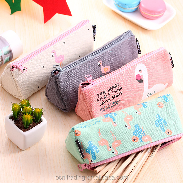 Creative promotional canvas pencil case student stationery triangle flamingo bag
