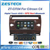 ZESTECH DVD wholesales 2 Din Touch screen Car Dvd player for Citroen C4 car dvd player gps radio audio navigation autopart