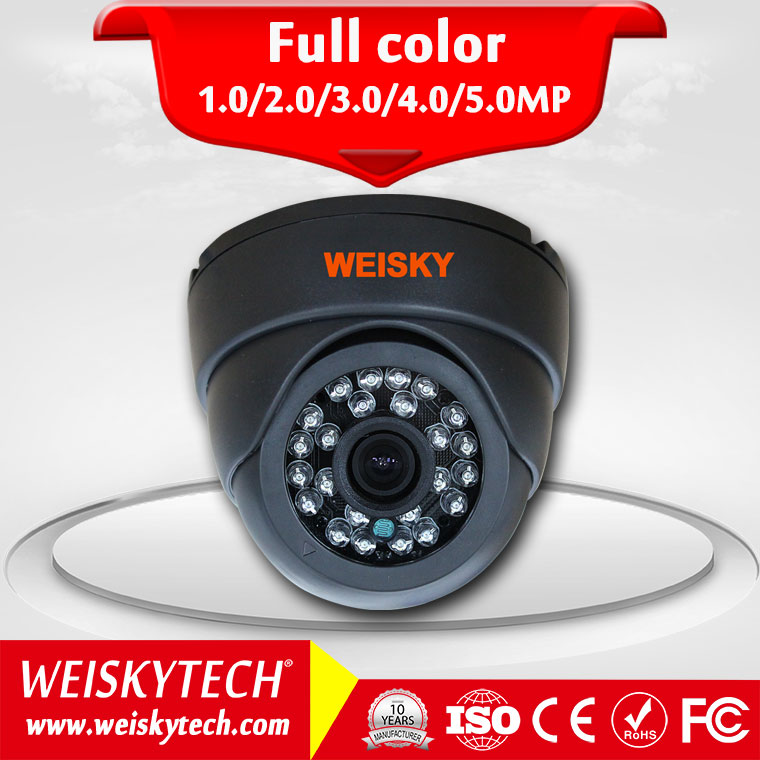 Weisky cheapest Digital h.264 security camera, 1.0Megapixel Auto IR cut for day&night, auto focus 720P wired Dome mini ip camera