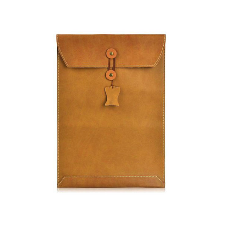 Retro Brown Envelope Sleeve Bag Genuine Leather Cover For Macbook Pro 13 Retina Case