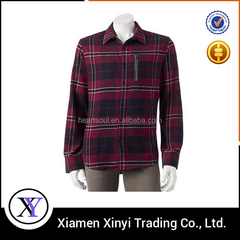 New fashion men fancy checks polyester cotton flannel for Cotton polyester flannel shirts