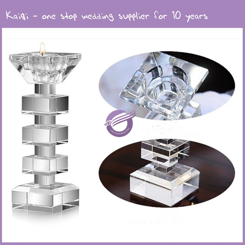 #k9937 Wholesale cheap Square Crystal candle holder/wedding Candlestick