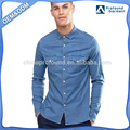 men fashion designer denim shirts two pocket long sleeve styling cotton shirt for man