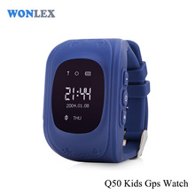 Brand anti lost dark blue q50 gps kids tracker watch phone