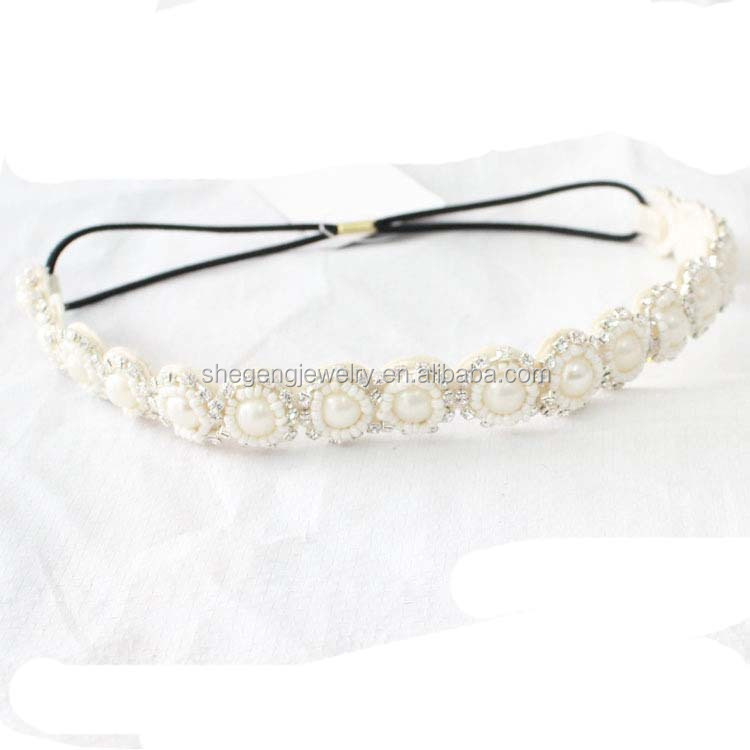 fashion rhinestone beads thin skinny stretch boho headband