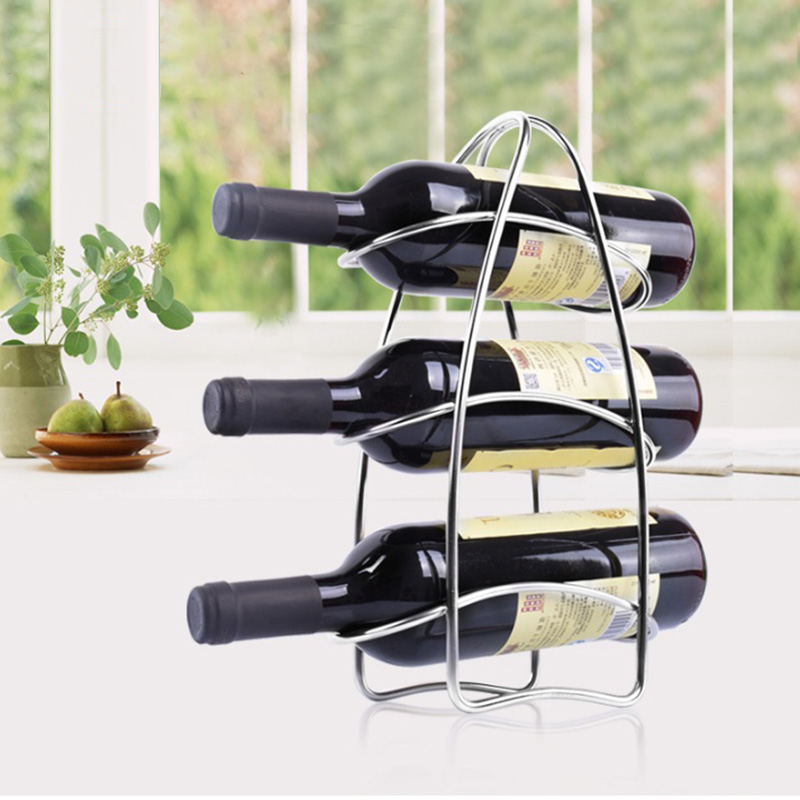low price 3 bottles brushed stainless steel portable home wine rack tabletop wine rack