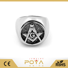 POYA Jewelry Retro Mens Masonic Rings Wholesale 10mm Stainless Steel Freemasonry Engraving Ring