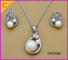 CN70090 White Gold Plated Elegant Crystal Pearl Pendant Necklace Earrings Jewelry Set for Women