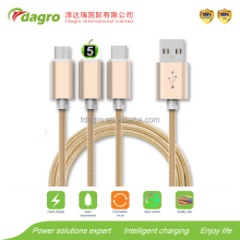 3 in 1 Charging USB Cable for cell Phone Micro USB/type-c/8pin for smart phone cable charger