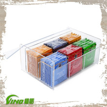 Clear Acrylic Tea Bag Organizer Box,Custom Lucite 9 Compartment Tea Bag Box with Lid,Acrylic Gift Box Stopper Wholesale