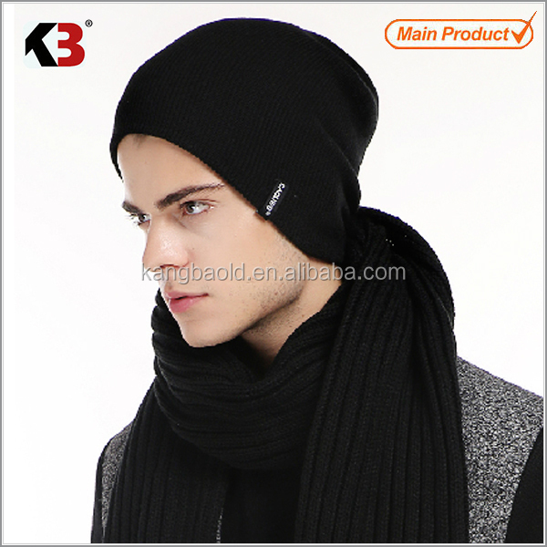 2016 New design knitted men winter hat and scarf set / winter acrylic knitted beanie hat sarf set