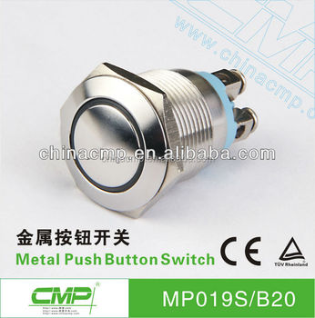 19mm anti-vandal momentary or latching led switch push button with screws terminal (TUV CE)