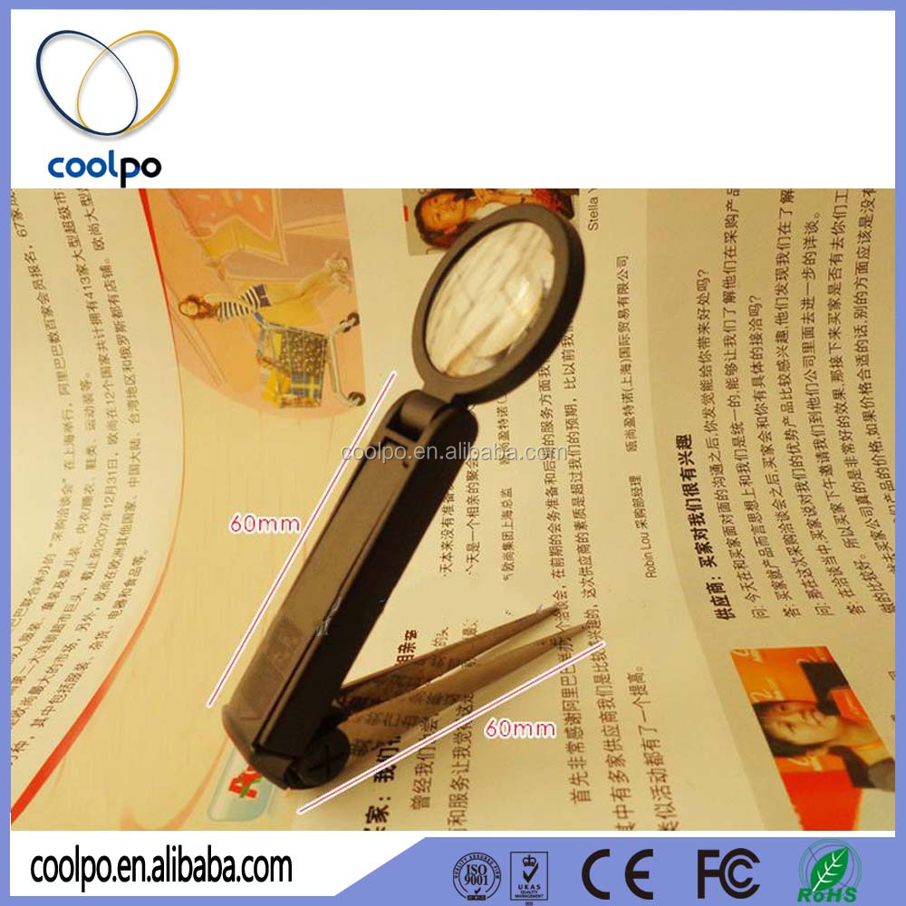 Folding tweezer magnifier with led light/Plier magnifying tweezers