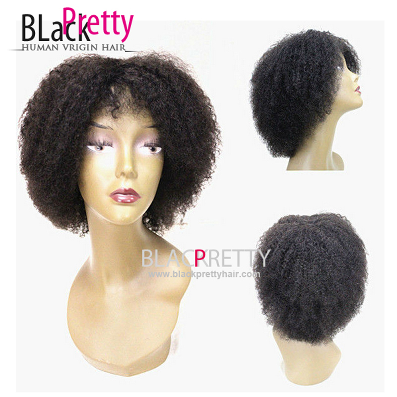 Glueless Black Human Real Hair Short Afro Kinky Curly Wigs For Black Women Capless Lace Front Wig Machine Wigs None Lace Wig