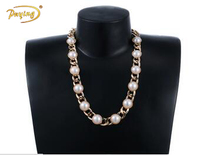 online shop china fashion gold chain with pearl designs Necklace