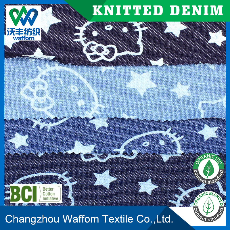 printed Polyester / Cotton/Spandex twill knit denim fabric for dress