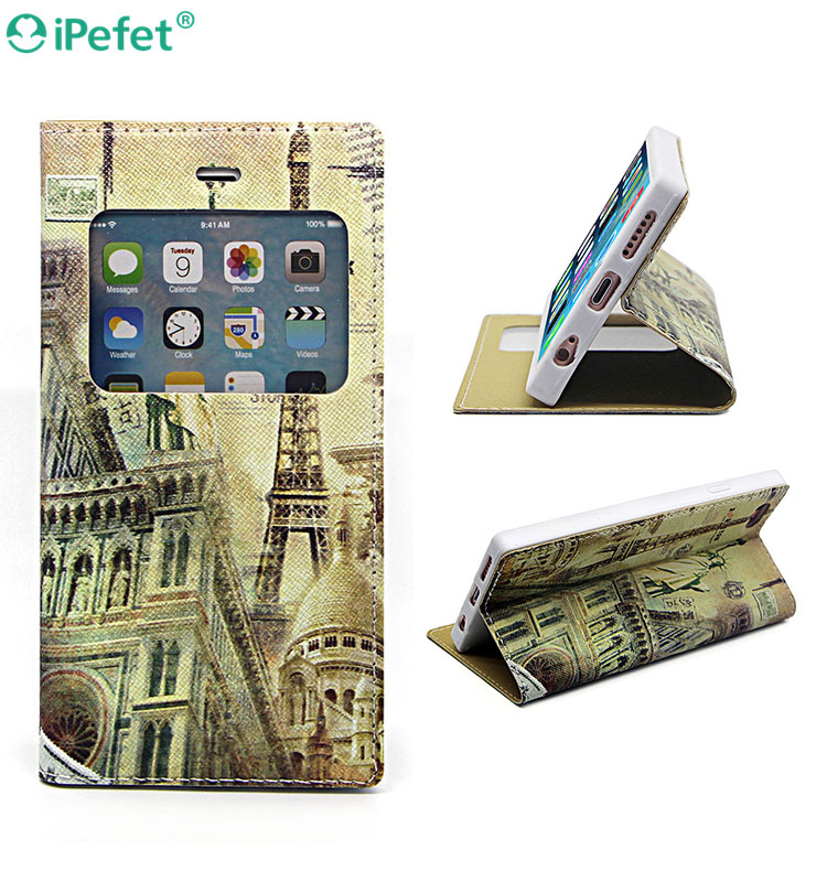 iPefet- Premium PU Leather Style Kickstand Eiffel Tower Flip cover case For iPhone 6