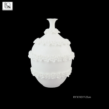 Wedding Banquet Decorated Luxury White Hollow Bone China Vase