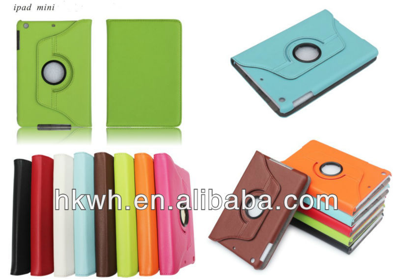 Book style leather case for ipad mini, 360 degrees rotating case.