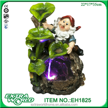 polyresin led indoor garden gnome water fountains