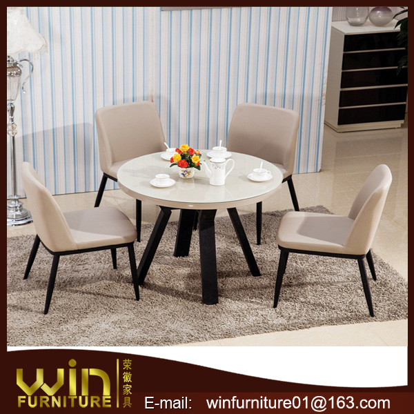 tempered glass top metal frame dining table