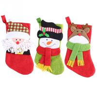 Popular 3 pcs Christmas Decoration Gifts Candy Bag Stocking Santa Claus Socks Christmas Tree Ornaments Newest