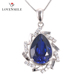 Fashion Trendy 925 Sterling Silver Elegant Sapphire Pendant Silver Women Engagement Jewelry Pendant