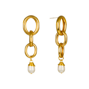 Golden chain link earrings stylish hanging pearl earrings