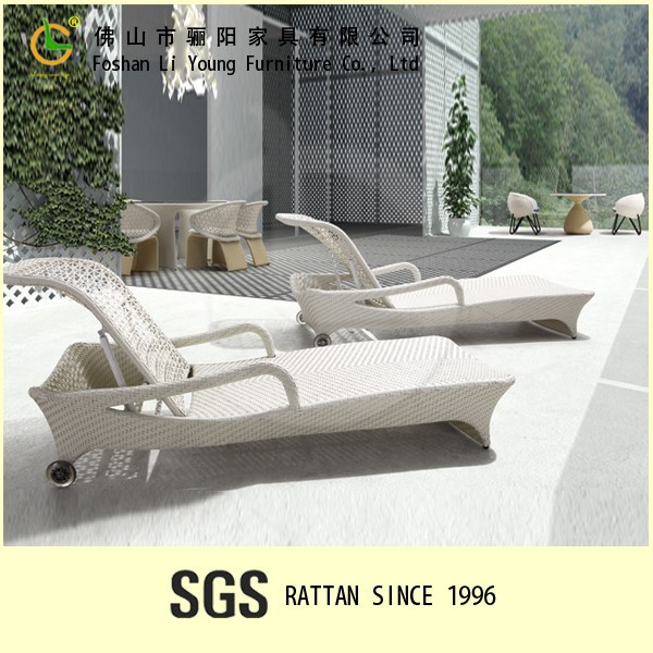 Chinese style all wather and green eco-friendly outdoor pool rattan adjustable sunbed,high quality and waterproof plastic sunbed