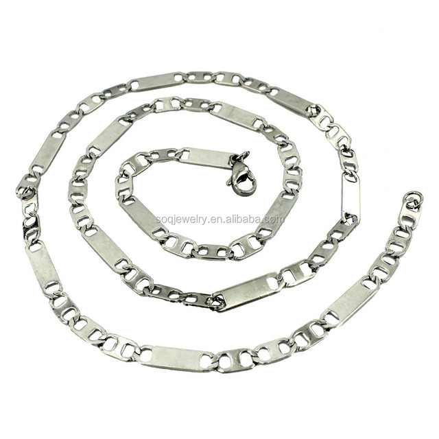SN0826006 Fashion High Quality Stainless Steel Hollow Flat Link Vintage Necklace Chain Jewelry for Women