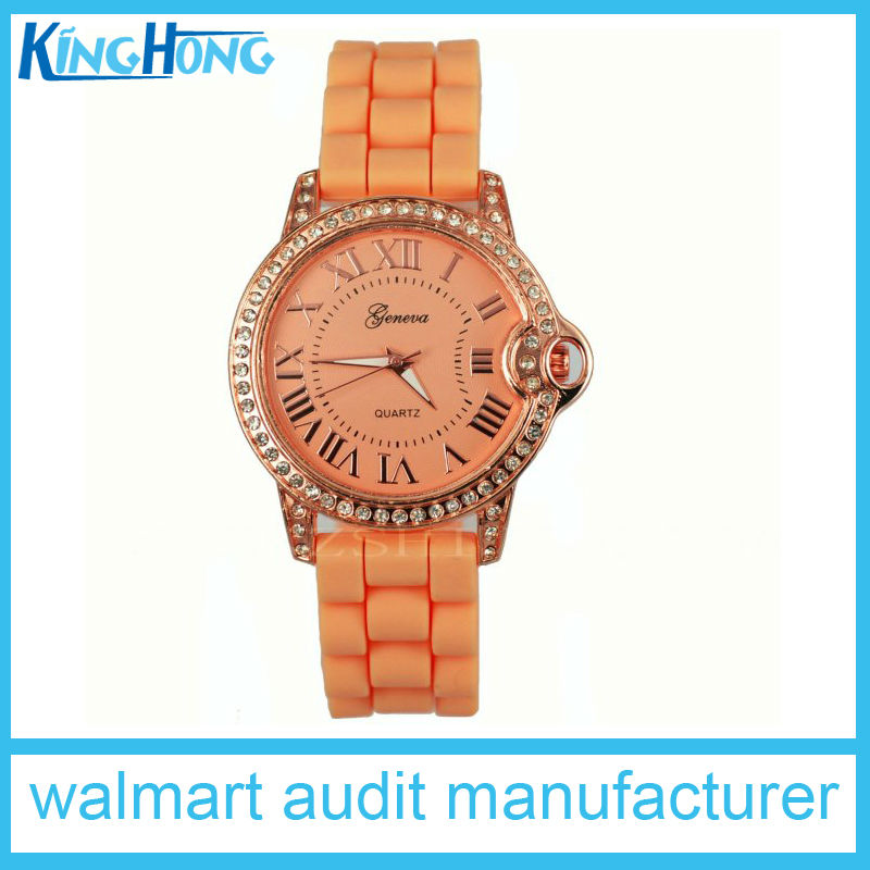 CA prop 65 qualified charming silicone rhinestone quartz charlie watch