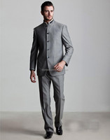 Customized Made Single Breasted Gray Chinese Style Stand Collar Mans Business Suits (Jacket+Pants+Tie) BS005 Coat Pant Men Suit