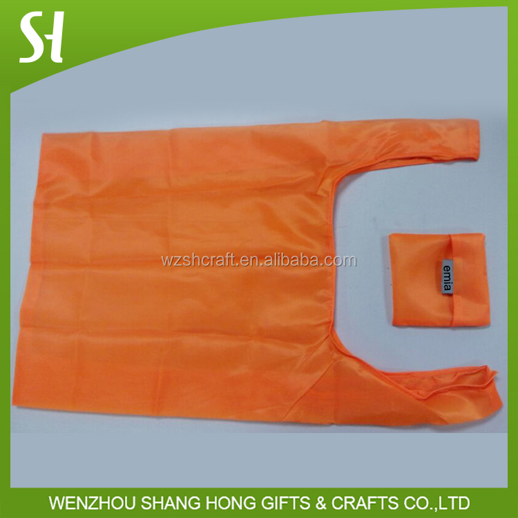 orange polyester folding shopping bag