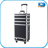 Hard aluminum makeup case with wheels