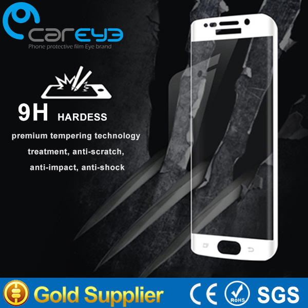 3D full cover hot bending mobile phone accessoies 9H 2.5D tempered glass screen proterctor for samsung galaxy s6 edge
