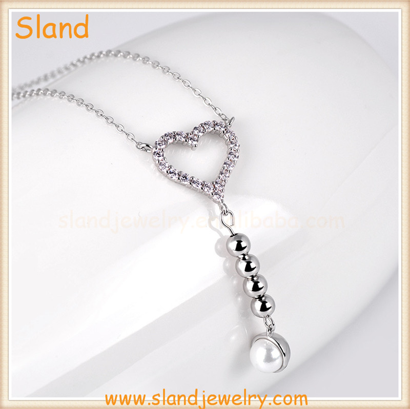 customized women jewerly bling bling cz stone pave 925 silver love heart necklace with beads and pearl hanging