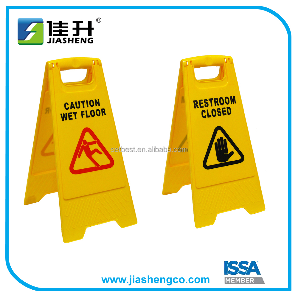 Plastic Stand Triangle Caution Wet Floor Sign