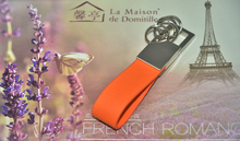 Niya Orange pu keychain with 4 rings/ leather key fob/metal keychain with charm 8016-O