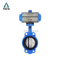 Sale made in China stainless soft sealed wafer pneumatic actuator butterfly valve dn200