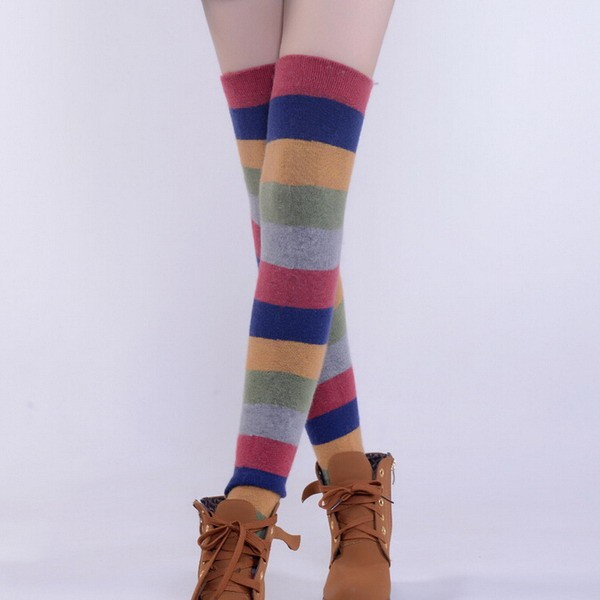 Knit Boot Knee Thigh High Socks Back to School Gift color Striped Stockings for Womens