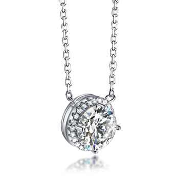 Customized Sterling Silver Diamond Circle Necklace
