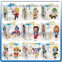 Mini Qute Lele Brother 3 in 1 Kawaii 9 styles Anime one piece Luffy plastic building blocks brick cartoon model educational toy