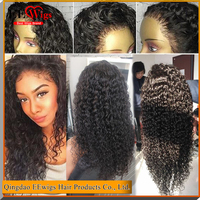9A 24 inch unprocessed indian brazilian curly natural black color 130% density deep full lace human hair for black woman