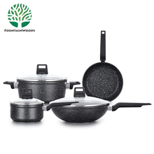 Chinese Kitchen Aluminum Non-Stick Induction Cookware Sets with Stone Coating